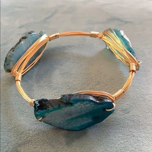 Jewelry - Wire Wrapped Blue Agate Bangle